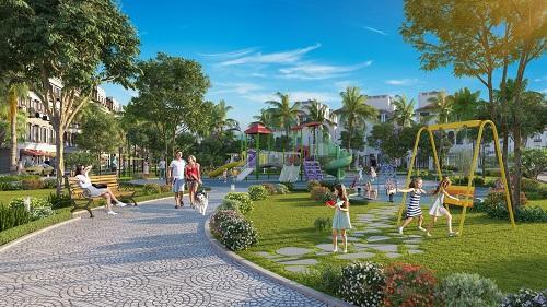 Ảnh Phân khu Mallorca sở hữu mật độ cây xanh, mặt nước vượt trội so với phần còn lại của dự án.